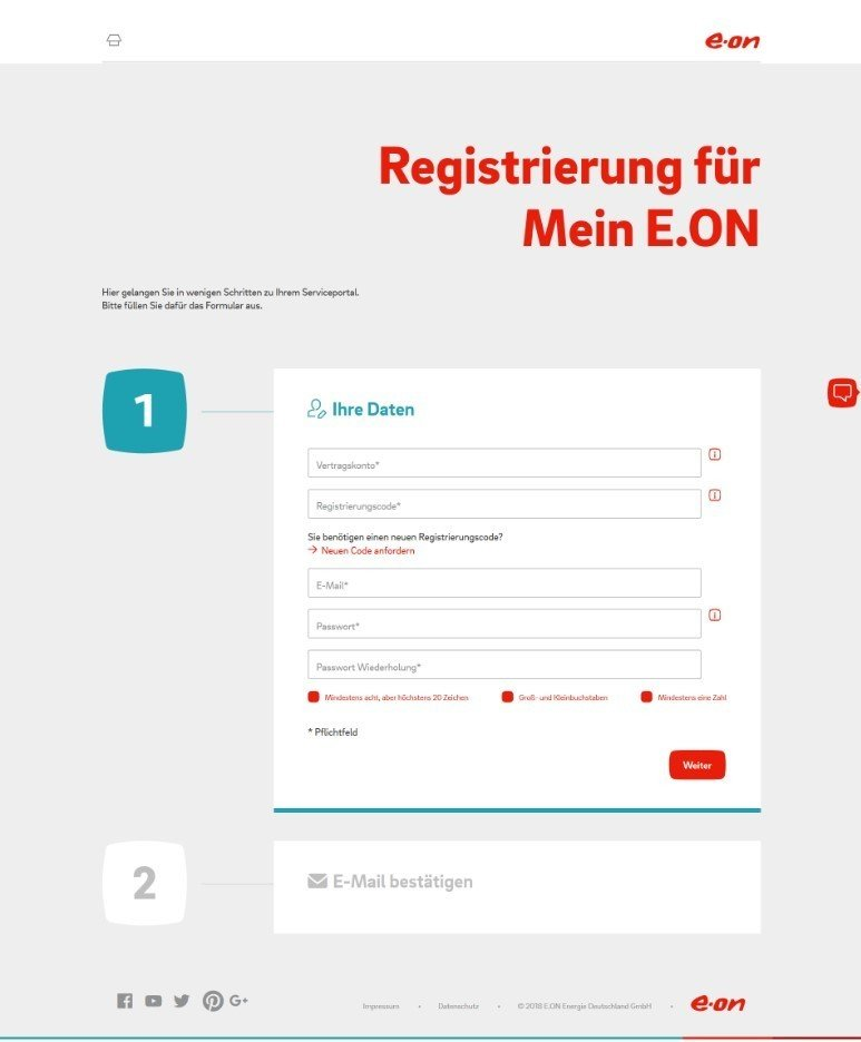 Mein E.ON Registrierung